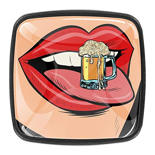Taza de cerveza retro de espuma de lengua femenina boca cómics dibujos animados pop arte aparador cajones tiradores de gabinete muebles decorativos pomos cuadrados (4 piezas)