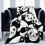 CSDGHRHX Manta de vellón súper Suave y Liviana Pandas Se Utiliza para sofá Cama y Manta de Reserva de Viaje 125cmX100cm.