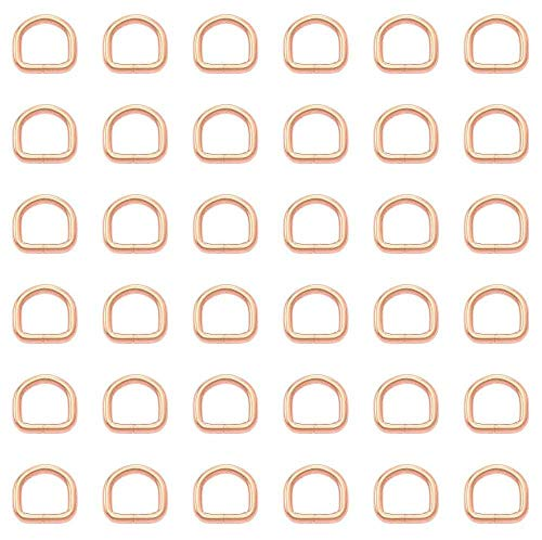 Anillos en D soldados - 10mm - Oro rosa - Acero - Embalaje de 1 a 50 piezas - [2 piezas]
