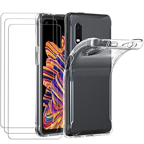 ivoler Hülle für Samsung Galaxy Xcover Pro + [3 Stück] Panzerglas, Durchsichtig Handyhülle Transparent Silikon TPU Schutzhülle Hülle Cover mit Premium 9H Hartglas Schutzfolie Glas