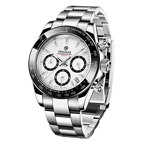 BERSIGAR Reloj multifunción para Hombre Relojes a Prueba de Agua Reloj de Pulsera con Correa de Acero Inoxidable Informal para Hombres