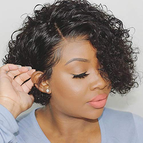 Human Hair Wigs Short Bob Curly Wig Lace Part Glueless Wigs Natural Wave African American Wigs for Black Women Natural Black Color