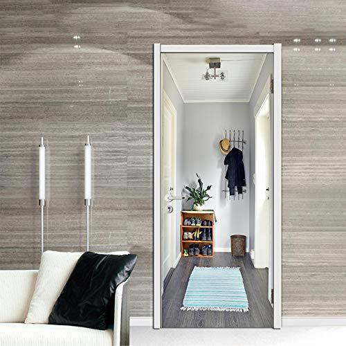 ZOOINB 3D Puerta Papel Pintado Zapatero De Suspensión Creativa para Sala De Estar Pegatina Paredes Autoadhesivo Mural Extraíble Adhesivo De Pared Arte Decoración del Hogar Foto Póster PVC Impermeable