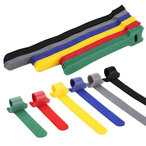 Ataduras Cables, Jolintek 90Pcs Organizador Cables Bridas Reutilizables, Cable Correas Set, Multicolor Sujeta Cables Ajustable Organizador de Cables para Cables en Hogar y Oficina, 6 Colores 3 Tamaños