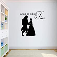 xjpgkd Beauty and The Beast Wall Decal Quotes A Tale As Old As Time Vinyl Wall Stickers for Kids Rooms Nursery Room Art Mural DIY 42X55Cm