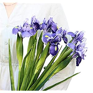 6 PCS Artificial Irish Flower High-End Pu Artificial Flower PU Feel Alice Iris Artificial Flower Wedding Decoration