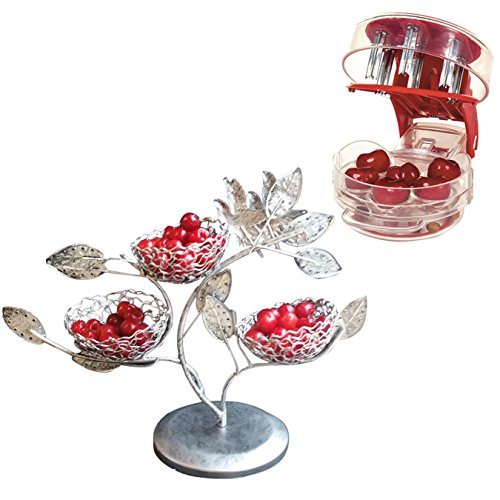 Coralpearl Table Bird Nest Party Food Storage Holder Desk Decoration Organizer Display Stand with Cherry Pitter Machine Pit Corer Remover Tool for 6 Cherries,Olives,Plums,Berries (Tree Fruit Seeder)