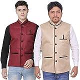 A P Creation Nehru Jacket Sleeveless Solid Men Latest Modi Jacket Nehru Coat Wedding Party's and Festival Set of 2 Color Combo Maroon & Golden For Men (Medium)