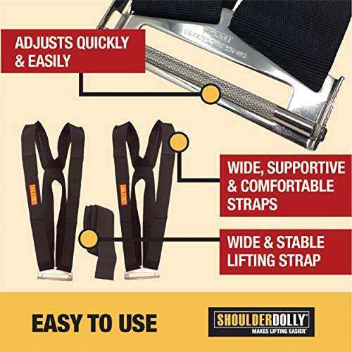 Shoulder Dolly 2-Person Lifting and Moving System - Easily Move, Lift, Carry, And Secure Furniture, Appliances, Heavy Objects Without Back Pain! Straps and Harnesses for 2 Movers - Great Tool To Add To Moving Supplies!