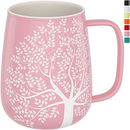 amapodo Kaffeetasse groß aus Porzellan mit Henkel 600ml Jumbotasse XXL Keramik Kaffeebecher Rosa Geschenke für Frauen Männer