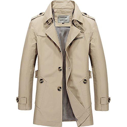 DAVID.ANN Men's Windbreaker Notch Lapel Single Breasted Coat,Light Khaki,Small