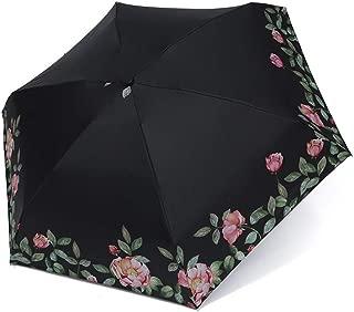 AUWANGAOFEI 8 Bone Printing Vinyl Compact Folding Umbrella Sun Sunshade Umbrella (Color : Black, Size : 53 * 6K)