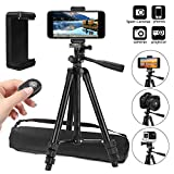 PEMOTech Phone Tripod, 42' Aluminum Lightweight Portable Camera Tripod +Smartphone Holder +Bluetooth Remote Shutter +Carry Bag Compatible for iPhone 12 Pro Max 12 11 Pro Max 11 Pro Stabilizer