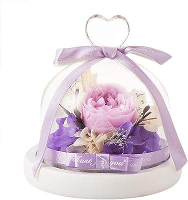 プリザーブドフラワー 枯れない花 ガラスポット入り 母の日、記念日などのプレゼントに最適 プリザーブドフラワー (パープル)