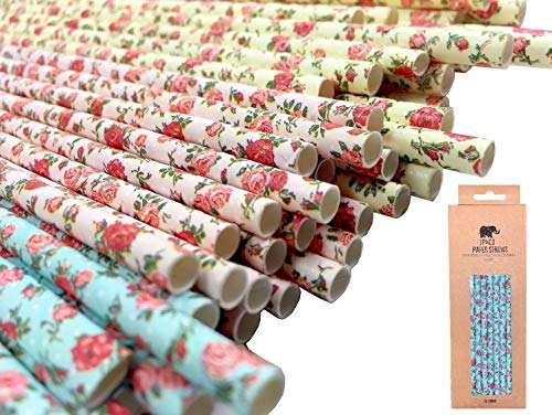 Floral Paper Straws for Drinking (Large Size, 75 Pack, Pink, Blue, Yellow) Vintage Flower & Rose Designs, Biodegradable Eco Friendly Disposable Party Straws for Party & Events by JPACO