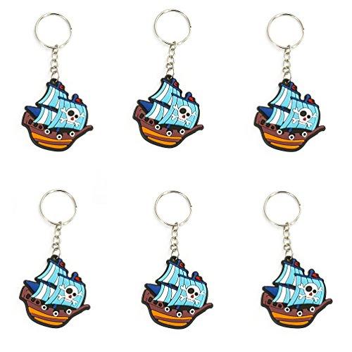 Oblique Unique® 6 Schlüsselanhänger Piraten Totenkopf oder Piratenschiff wählbar - inklusive Schlüsselkette (Piratenschiff)