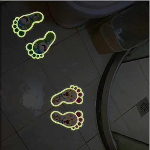 Shina Nueva 2 pares fluorescentes luminosos de modo de pie Pegatina de pared para Decora tu Bonito piso