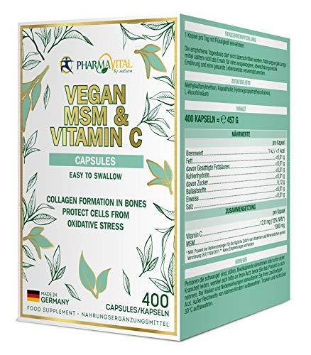 Pharmavital Vegan MSM & Vitamin C Kapseln aus Deutschland (400 Stück) hochdosiert mit 1000mg Methylsulfonylmethan pro Kapsel