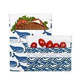 Lunchskins Reusable 2 Piece Food Storage Bag Set, 1 Sandwich Bag + 1 Snack...