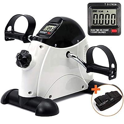 DECELI Under Desk Bike Pedal Exerciser - Portable Mini Exercise Bike for Arm/Leg Exercise, Mini Exercise Peddler with LCD Display?White?