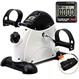 DECELI Under Desk Bike Pedal Exerciser - Portable Mini Exercise Bike for Arm/Leg Exercise, Mini Exercise Peddler with LCD Display(White)