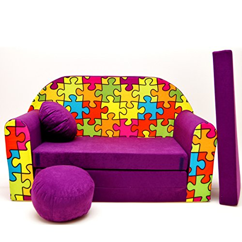 G34-c Canapé pour Enfants Enfants Bébés Mini Canapé bébé Canapé lit Pouf Lot de 3 en 1 d'oreillers en Mousse