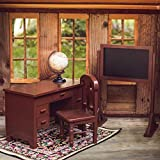 The Queen's Treasures Vintage Style Wooden School Teachers Desk & Chair Doll Furniture & Accessories Compatible with 18 Inch American Girl Drawers Open & Close, Real Style Globe and Chalkboard Too!