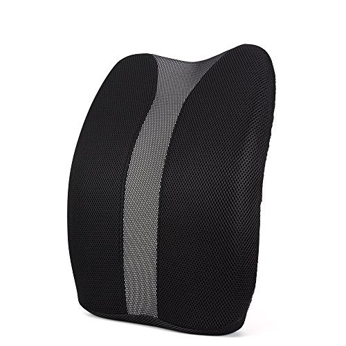 Lumbar Support Pillow for Office Chair Desk Car Seat Couch and Sofa, Ergonomic Memory Foam Cushion Relieves Lower Back Pain with Adjustable Straps