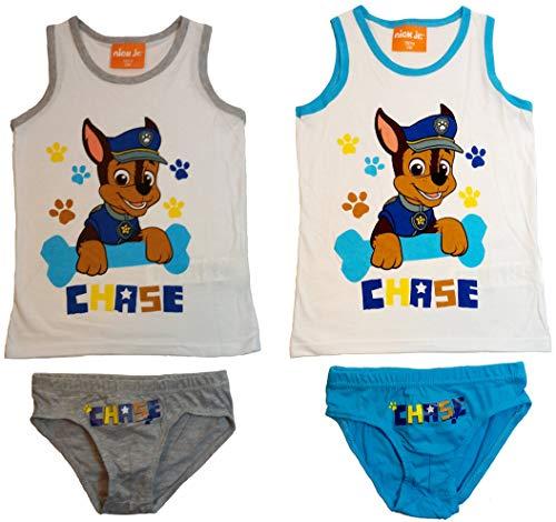 Paw Patrol 2er Unterwäsche Set Jungen Garnitur Hemd Slip weiß hellblau grau (110-116)