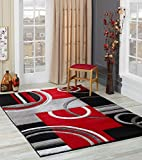 GLORY RUGS Area Rug Modern 8x10 Red Soft Hand Carved Contemporary Floor Carpet with...