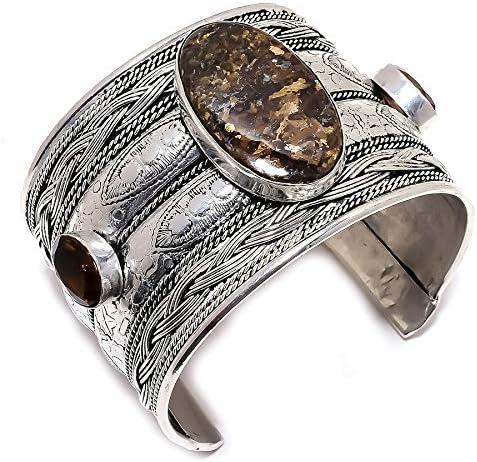 YUVI Bronzite, Smoky Topaz Ethnic .925 Silver Jewelry Cuff Brace