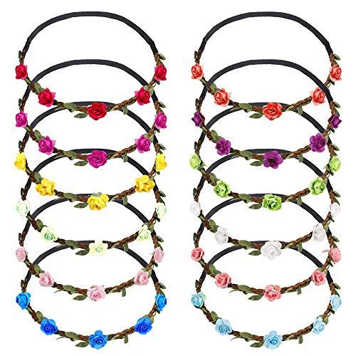Fiori Fascia Multicolore Fasce Corona di Fiori Ghirlanda con Il Nastro Elastico Regolabile per Donne Ragazze Festival Matrimonio Festa 12 Pezzi