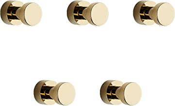 BVL Gouden Handdoekhaak, 5 Stuks Metalen Zelfklevende Haken, Zelfklevende of Muurmontage Handdoekhaken voor Badkamers, Roe...