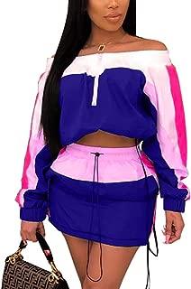 Women 2 Piece Outfit Long Sleeve Tube Crop Top High Waist Mini Skirt Drawstring Skirt Set
