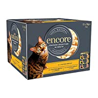 100% NATURAL INGREDIENTS that your pet will love. 75% REAL MEAT More real meat and no unnecessary cereals, fillers or preservatives. Encore Cat Multipack Chicken Selection in Broth 12 x 70g Wet Cat Food COMPLEMENTARY PET FOOD Serve on its own or with...