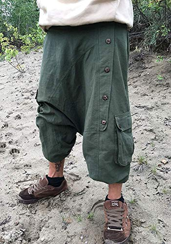 Pluderhose in grün mit Baggy Taschen und Holzknöpfen für Männer und Frauen Unisex Herren Damen for men and women