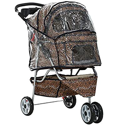 All Terrain Extra Wide Leopard Skin 3 Wheels Pet Dog Cat Stroller w/RainCover