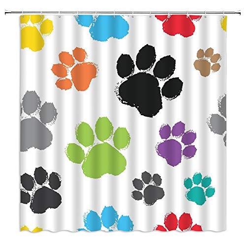 Xnichohe Dog Paw Print Shower Curtain Watercolor Graffiti Black Green Blue Orange Purple Animal Footprint Polyester Cloth Fabric Bathroom Decor Curtains with 12 pcs Hooks,70x70 Inches