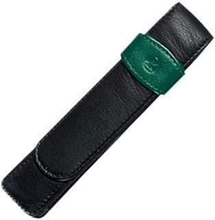 Pelikan Leather Double Pen Case, Black/Green (923722)