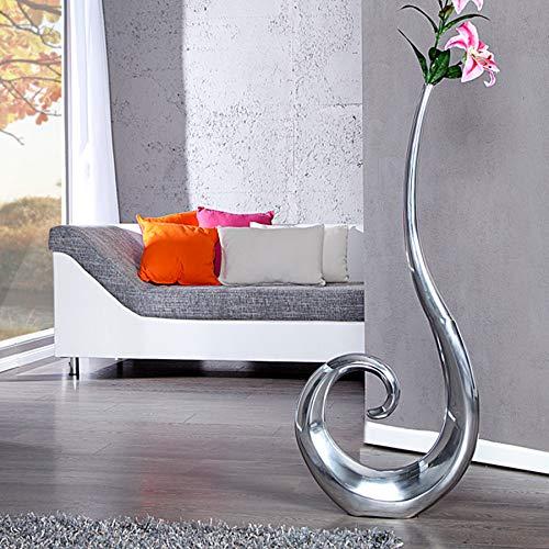 Riesige Designer Vase Wave Alu silber XXL 106cm