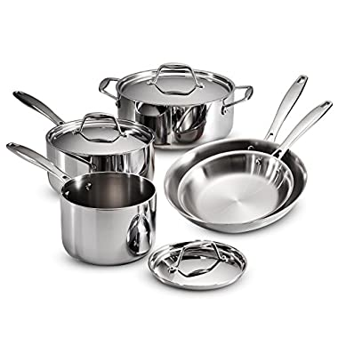 Tramontina 80116/247DS Gourmet Stainless Steel Induction-Ready Tri-Ply Clad 8-Piece Cookware Set, NSF-Certified, Made in Brazil