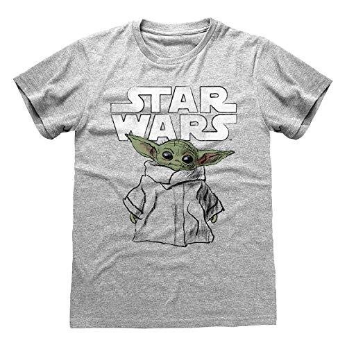 Star Wars The Mandalorian The Sketch Bambino T-Shirt da Uomo Heather Grey XL | S-XXL, Bambino Yoda Girocollo Graphic Tee, Idea Regalo di Compleanno per i Ragazzi, per casa o in Palestra