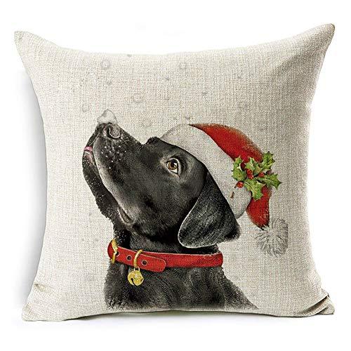 display08 Christmas Dog Santa Claus Reindeer Cushion Cover Throw Pillow Case Home Sofa Decors (#10 Santa Hat Black Labrador)