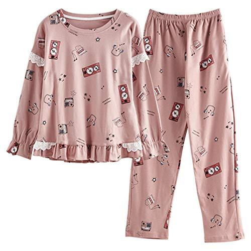 GOSO Schlafanzug Mädchen 140 146 152 164 Pyjamas Niedliche Pjs für Teenager Cartoon Print Tops und Lange Hosen Big Tween Girl Nightwear Set