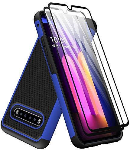 Dahkoiz kompatibel für LG V60 ThinQ mit Bildschirmschutzfolie aus gehärtetem Glas [2 Stück], Armor Defender Cover Dual Layer Hybrid Schutzhüllen Kompatibel für LG V60 ThinQ 5G/LGV60, Blau