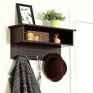 """SONGMICS Wooden Entryway Hanging Shelf with 3 Dual Hooks and Storage, Espresso, ULES01BR, 23.6""""L x 7.9""""W x 10.6""""H"""