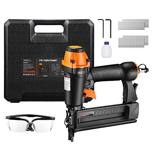 TACKLIFE 2-IN-1 Druckluftnagler, 18GA Drucklufttacker mit Nägeln und Klammern (je 200 Stück), für Nägel 15-50 mm und Klammern 16-40 mm, 100 Kapazität, rutschfester Griff für optimalen Komfort - TK5040