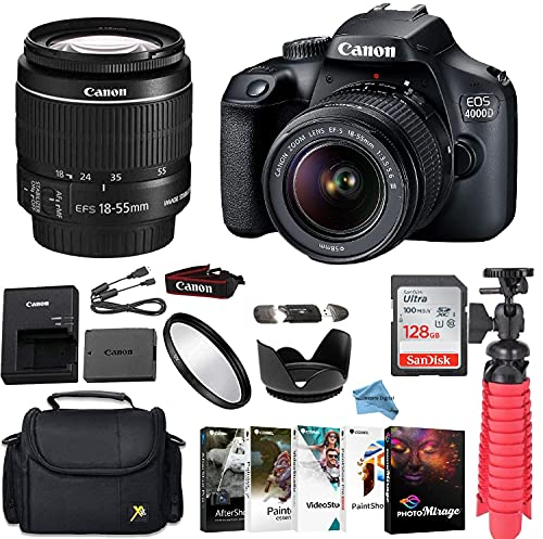 Canon EOS 4000D/Rebel T100 DSLR Camera Bundle with Canon EF-S 18-55mm f/3.5-5.6 is II Lens + Gadget Case + Sandisk 128GB Ultra Memory Card + Photo Software Suite + Accessory Kit+Inspire Digital Cloth.