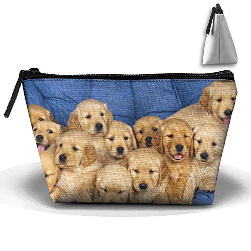 Dog Puppy Waterproof Trapezoidal Bag Cosmetic Bags Makeup Bag Large Travel Toiletry Pouch Portable Storage Pencil Holders