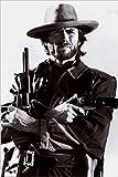 Buyartforless Clint Eastwood Guns Movie Still 36x24 Art Print Poster Black and White Photograph Western Cowboy